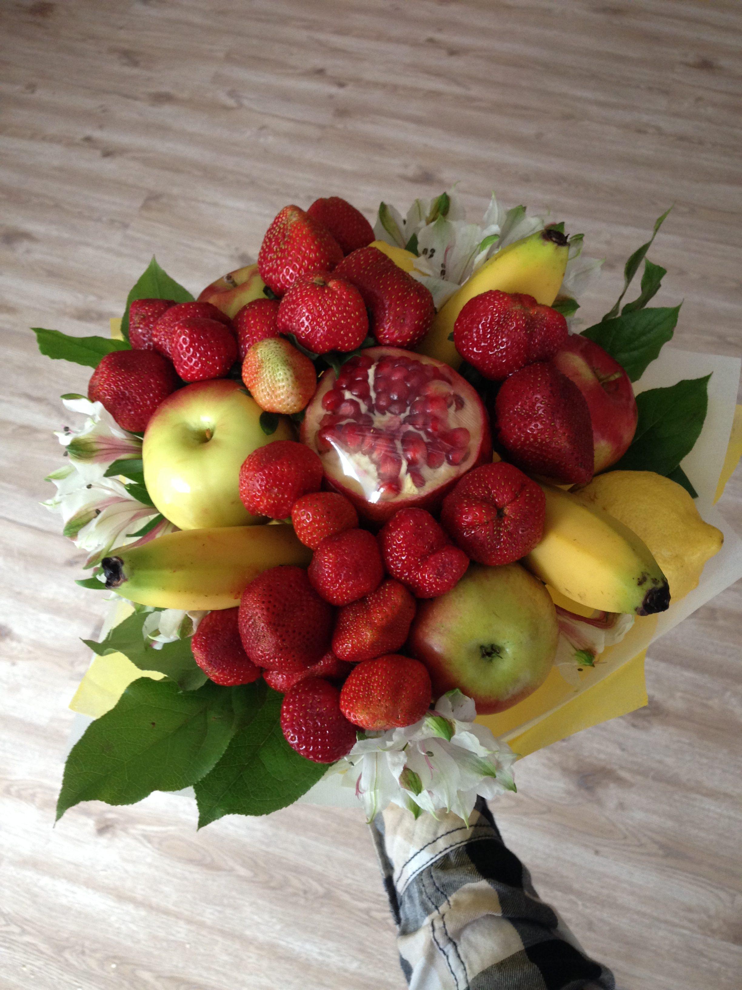 Букет из фруктов: своими руками, для начинающих, композиции 64